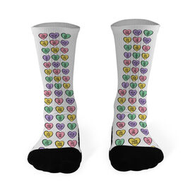 Lacrosse Printed Mid Calf Socks Lax Candy Heart Pattern