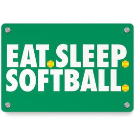 Softball Metal Wall Art Panel - Eat Sleep Softball