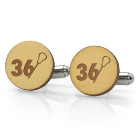 Guys Lacrosse Engraved Wood Cufflinks Stick Number Slice