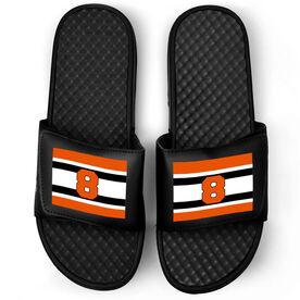 Hockey Black Slide Sandals - Number Stripes