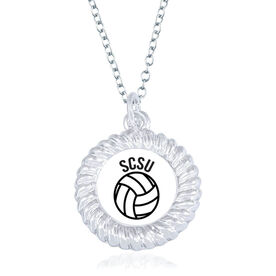 Volleyball Braided Circle Necklace - Ball With Team Initials