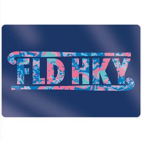 """Field Hockey 18"""" X 12"""" Aluminum Room Sign - Floral Field Hockey"""