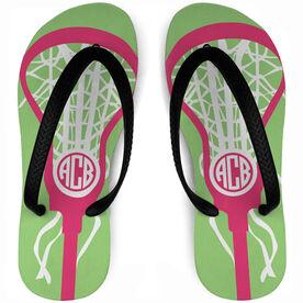 Girls Lacrosse Flip Flops Monogrammed Lax Is Life