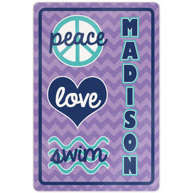 "Swimming 18"" X 12"" Aluminum Room Sign Personalized Peace Love Swim Chevron"