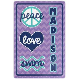 """Swimming 18"""" X 12"""" Aluminum Room Sign Personalized Peace Love Swim Chevron"""