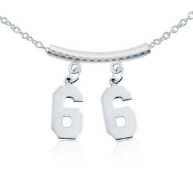 Sterling Silver Jersey Number Necklace with Two Numbers (tube spacer)