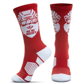 Hockey Woven Mid-Calf Socks - Ho Ho Hockey Santa