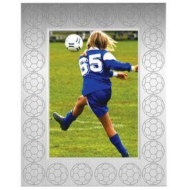 Engraved Soccer Frame Silver 5 x 7 with Soccer Border