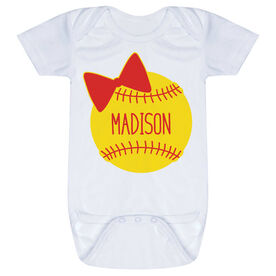 Softball Baby One-Piece - Personalized Softball Bow