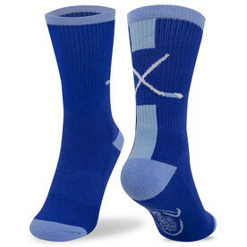 Hockey Woven Mid Calf Socks - Sticks (Royal/White)