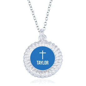 Personalized Braided Circle Necklace - Cross