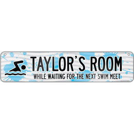 """Swimming Aluminum Room Sign Personalized Swim Room Sign Guy (4""""x18"""")"""