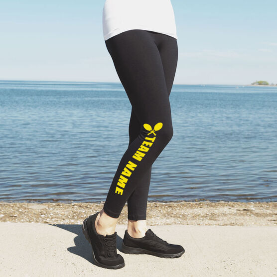 Tennis Leggings Team Name with Crossed Rackets