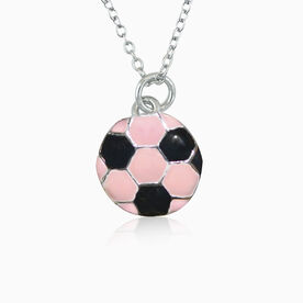 Silver Enameled Pink Soccer Necklace