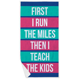 Running Premium Beach Towel - Then I Teach The Kids