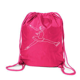Figure Skating Sport Pack Cinch Sack - Figure Skating Player Sketch