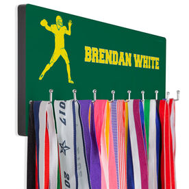 Football Hooked on Medals Hanger - Personalized Text With Quarterback