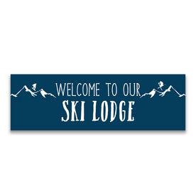 "Skiing 12.5"" X 4"" Removable Wall Tile - Welcome To Our Ski Lodge"