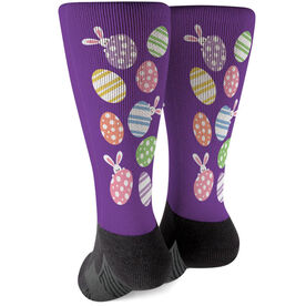 Running Printed Mid-Calf Socks - Easter Egg Pattern with Peeking Bunny