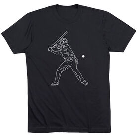 Baseball Short Sleeve T-Shirt - Baseball Player Sketch