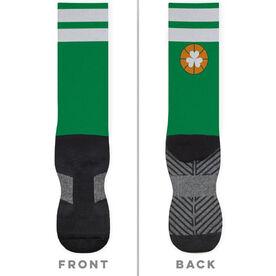 Basketball Printed Mid-Calf Socks - Shamrock with Stripes