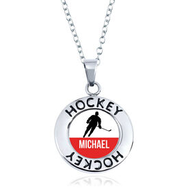 Hockey Circle Necklace - Player Silhouette With Name