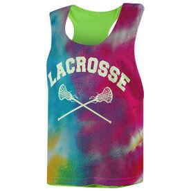 Girls Lacrosse Racerback Pinnie - Tie Dye Pattern with Lacrosse Sticks