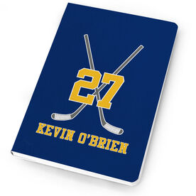 Hockey Notebook Personalized Hockey Player Crossed Sticks