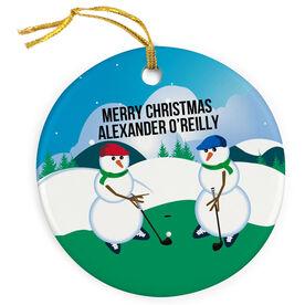 Golf Porcelain Ornament Swing Snowmen