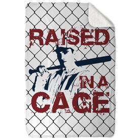 Baseball Sherpa Fleece Blanket Raised In A Cage