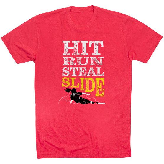 Softball Short Sleeve T-Shirt - Hit Run Steal Slide