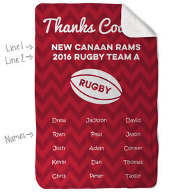 Rugby Sherpa Fleece Blanket Personalized Thanks Coach Chevron