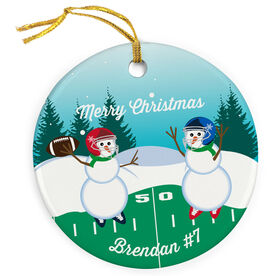 Football Porcelain Ornament Go For The Pass Snowman