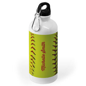 Softball 20 oz. Stainless Steel Water Bottle - Personalized Stitches
