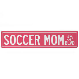 "Soccer Aluminum Room Sign - Soccer Mom Blvd (4""x18"")"