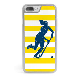 Field Hockey iPhone® Case - Stripes with Silhouette