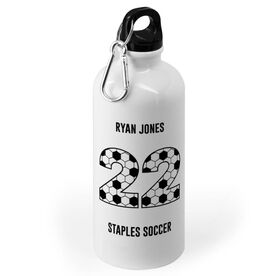 Soccer 20 oz. Stainless Steel Water Bottle - Custom Numbers