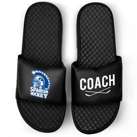 Hockey Black Slide Sandals - Logo and Coach