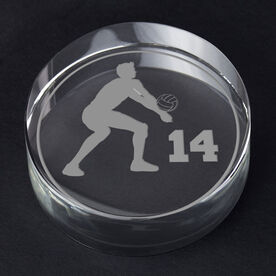 Volleyball Personalized Engraved Crystal Gift - Personalized Silhouette (Male)