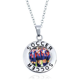 Soccer Circle Necklace - Custom Photo
