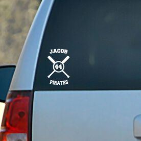Baseball Vinyl Car Decal Personalized Crossed Bats