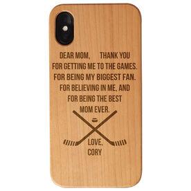 Hockey Engraved Wood IPhone® Case - Dear Mom Thank You Heart