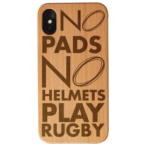Rugby Engraved Wood IPhone® Case - No Pads No Helmets Play Rugby