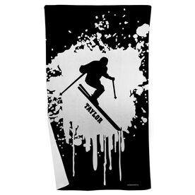 Skiing Beach Towel - Silhouette with Splatter Background