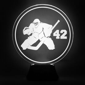 Hockey Acrylic LED Lamp Round Goalie With Number