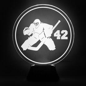 Hockey Acrylic LED Lamp Round Goalie With Number