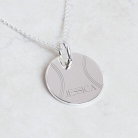 Sterling Silver 20mm Circle Necklace Tennis Name