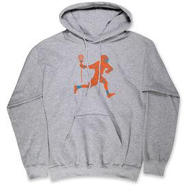 Guys Lacrosse Standard Sweatshirt - Lacrosse Player Neon Orange