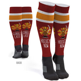 Hockey Printed Knee-High Socks - Hockey Now Gobble Later