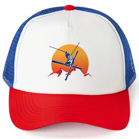Skiing Trucker Hat Sunset